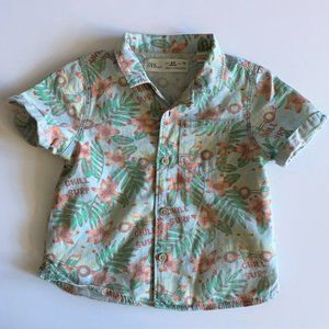 """Zara Baby """"Chill Surf"""" Button Front Shirt 6-9 Mos"""